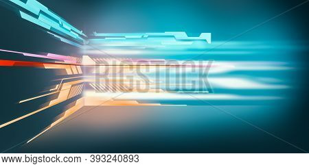 Modern Futuristic Sci-fi Background With Colorful Neon Lights . 3d Render Illustration