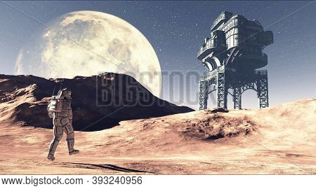 Astronaut Walking A Red Terrain To A Futuristic Industrial Building In The Space . This Is A 3d Rend