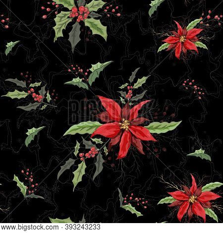 Seamless Floral Winter Pattern. Realistic Holiday Flowers From Poinsettia And Holly. Modern Hand-dra