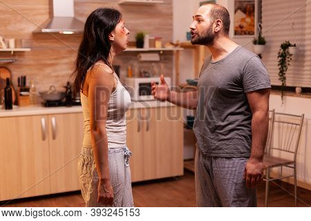 Bruised Wife Being Traumatised By Hysteric And Agressive Husband. Traumatised Helpless Terrified Vul