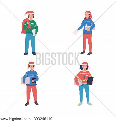 Holiday Delivery Courier Flat Color Vector Character Set. Postman In Santa Claus Hat. Christmas Time