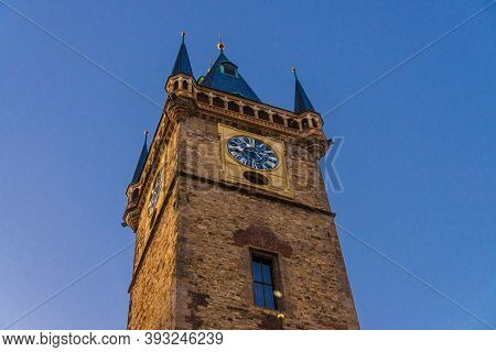 Clear Blue Sky Of Prague, Main Tower Of The Old Town Hall, City Hall Is Made In Gothic Style, Prague