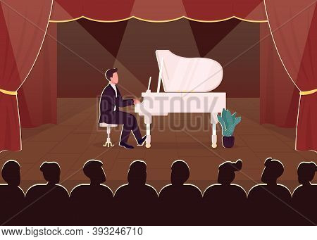 Live Piano Concert Flat Color Vector Illustration. Classical Musician On Stage. Musical Instrument P