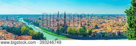 Panorama Of Verona Historical City Centre, Bridges Across Adige River, Basilica Di Santa Anastasia,