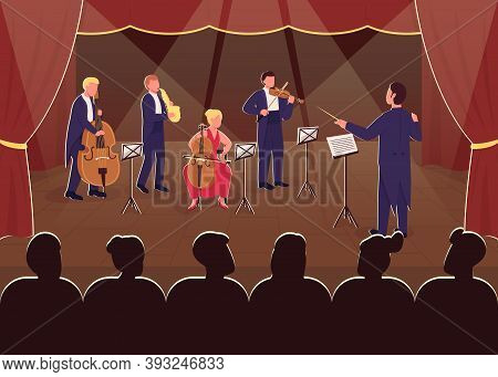 Orchestra Symphony Performance Flat Color Vector Illustration. Conductor With Musician. Night Live S