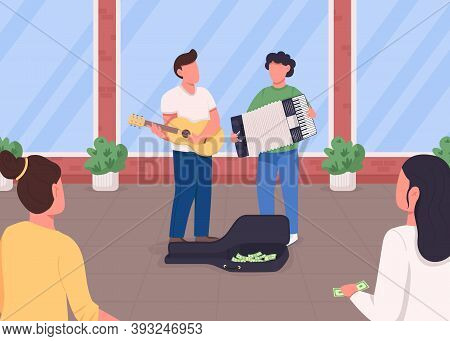 Street Musicians Flat Color Vector Illustration. Guitarist And Accordion Player Earn Money. Crowd Li