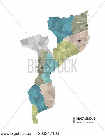 Mozambique Higt Detailed Map With Subdivisions. Administrative Map Of Mozambique With Districts And