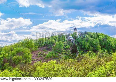 Diana Observation Tower Rozhledna Diana And Funicular On Hill Above Slavkov Forest With Green Trees