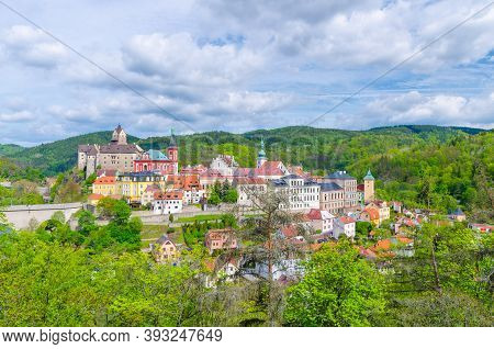 Aerial Panoramic View Of Medieval Loket Town With Loket Castle Hrad Loket Gothic Style On Massive Ro
