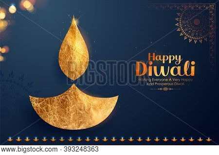 Illustration Of Decorative Burning Oil Diya On Happy Diwali Holiday Background For Light Festival Of