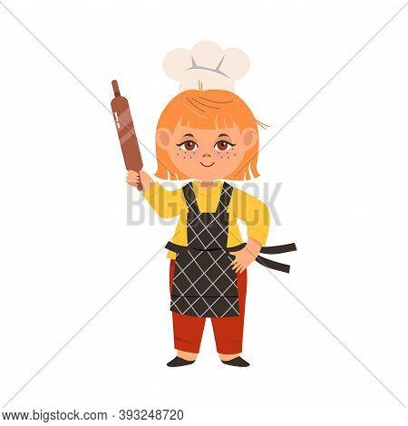 Smiling Girl Wearing Toque And Apron Holding Rolling Pin Vector Illustration