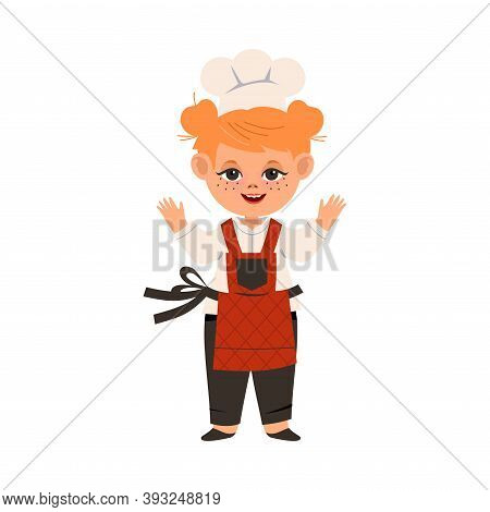 Smiling Girl Wearing Toque And Apron Standing In The Kitchen Vector Illustration
