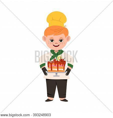 Smiling Boy Wearing Toque And Jacket Holding Baked Cake Vector Illustration