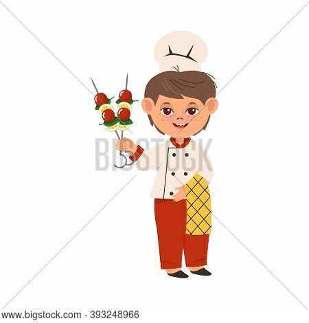 Smiling Boy Wearing Toque And Jacket Holding Skewered Food Vector Illustration