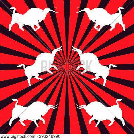 Three Pairs Of White Bulls. Dynamic Wild Bulls Attack Each Other. Angry Animals. Side View. Hand-dra