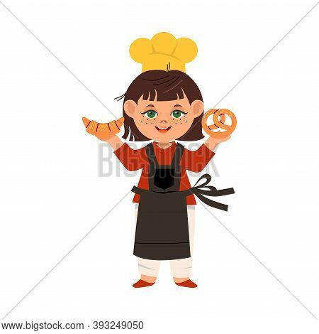 Cute Girl Chef In Toque And Apron Holding Pastry Vector Illustration