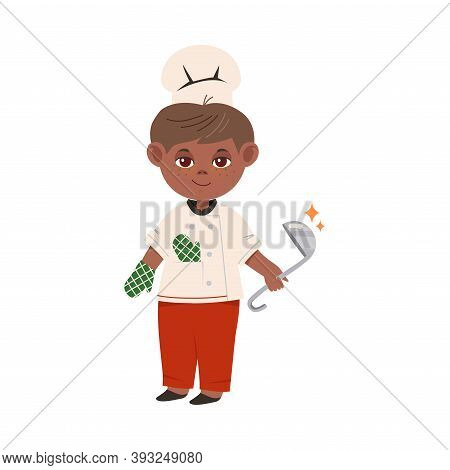 Cute Boy Chef In Toque And Jacket Holding Ladle Vector Illustration