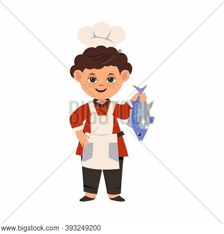 Cute Boy Chef In Toque And Apron Holding Fish Vector Illustration
