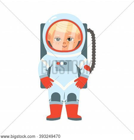 Cheerful Boy In Spacesuit Depicting Astronaut Profession Vector Illustration
