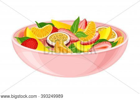Fruit Salad With Strawberry And Sliced Mango As Exotic Cuisine Dish Vector Illustration