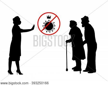 Silhouettes Of Grandparents And Doctor Warning About Danger Of Covid-19. Illustration Graphics Icon