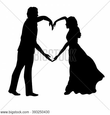 Silhouette Of Couple In Love Depicting Heart. Illustration Graphics Icon Vector