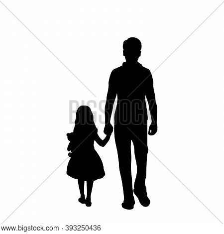 Silhouette Of Walking Father With Daughter From Back. Illustration Graphics Icon Vector