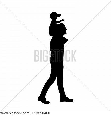 Silhouette Of Father Carrying Son On His Shoulders. Illustration Graphics Icon Vector
