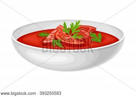 Gazpacho Or Cold Soup Of Tomatoes Garnished With Potherbs Served In Bowl Vector Illustration