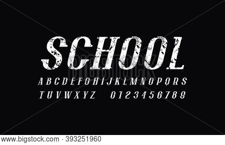 Oblique Narrow Serif Font In Newspaper Style. Letters And Numbers With Rough Texture For Logo And He