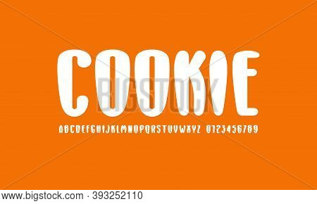 Plump Narrow Sans Serif Font With Rounded Corners. Letters And Numbers For Food Logo And Label Desig
