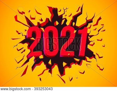 Happy New 2021 Year Greeting Card. Illustration With 3d Text. Flyer, Background, Poster, Invitation