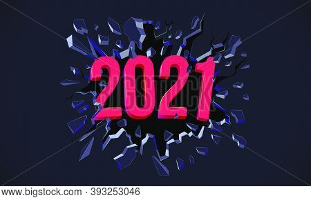 2021 New Year Greeting Card. 3d Text. Black Crack In The Black Wall. Web Banner, Flyer, Background,