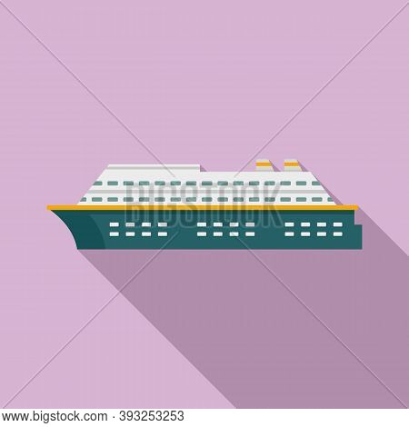 Cruise Vessel Icon. Flat Illustration Of Cruise Vessel Vector Icon For Web Design