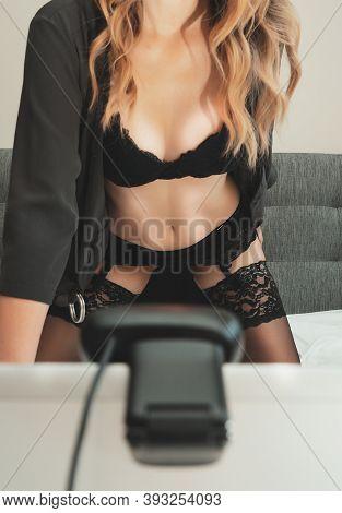 A Seductive Woman Working As Webcam Model.