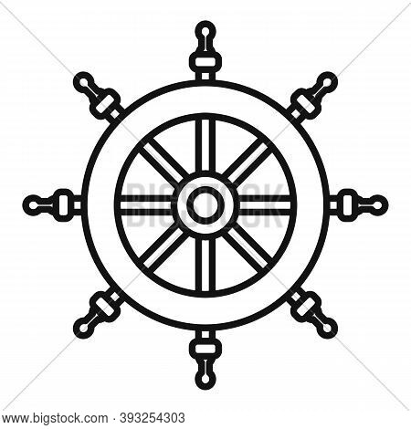 Cruise Steering Wheel Icon. Outline Cruise Steering Wheel Vector Icon For Web Design Isolated On Whi