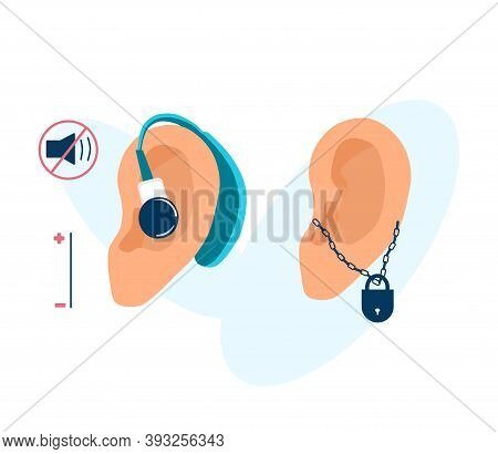 Human Ears With Hearing Aid Or Aerophone And Padlock On Chain. Deafness And Otolaryngology Concept.s