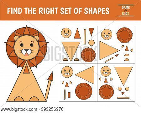 Educational Game For Kids. Geometrical Figure Lion. Find The Correct Block With Geometric Shapes. Pr