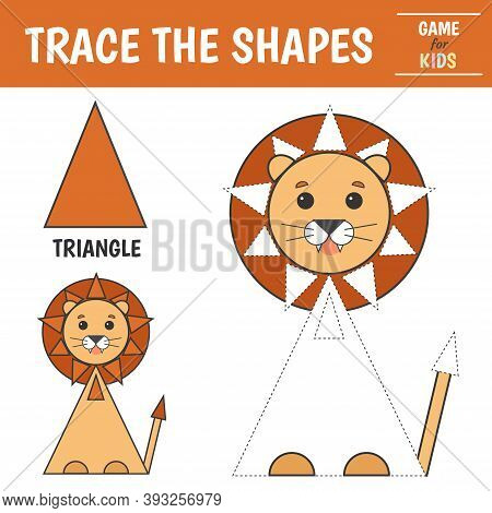 Learn Geometric Shapes - Triangle. Preschool Worksheet For Practicing Motor Skills. Lion Of Geometri