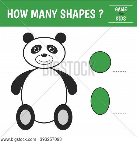 Educational Game For Kids. Panda Of Geometric Shapes. Count Circles, Oval. Preschool Worksheet Activ