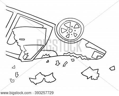 Wrecked Overturned Car After An Accident, Sketch. Car Accident Insurance Concept, Vector Illustratio