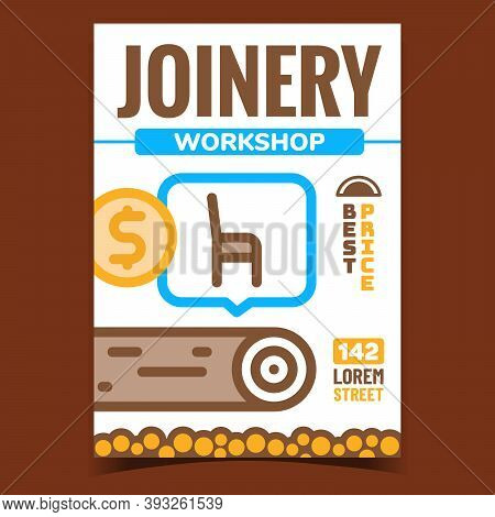 Joinery Workshop Creative Promo Banner Vector. Chair Furniture Selling And Wooden Trunks, Joinery Sh