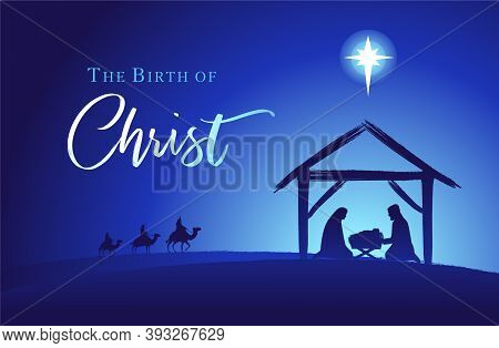 Birth Of Christ, Holy Family And Manger. Baby Jesus Reaching The Three Wise Kings Bear Gifts And Sta