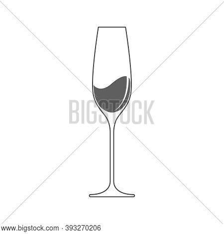 Champagne Glass With Champagne Graphic Icon. Champagne Glass Sign Isolated On White Background. Vect