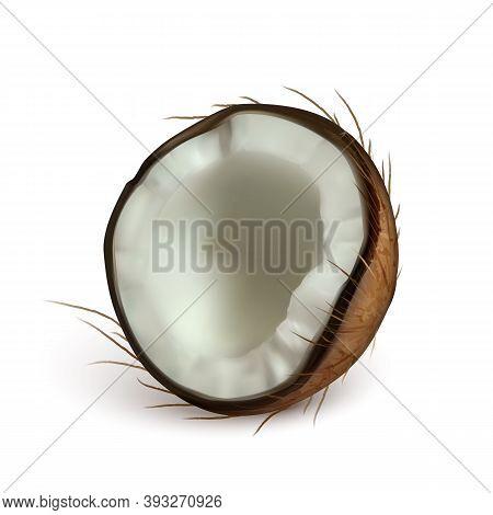 Coconut Half Piece Freshness Exotic Nut Vector. Diet Broken Ripe Coconut Portion, Vitamin Organic No