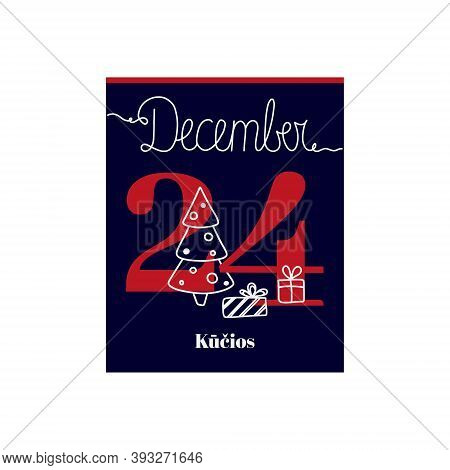 Calendar Sheet, Vector Illustration On The Theme Of Kūčios (christmas Eve In Lithuania) On December