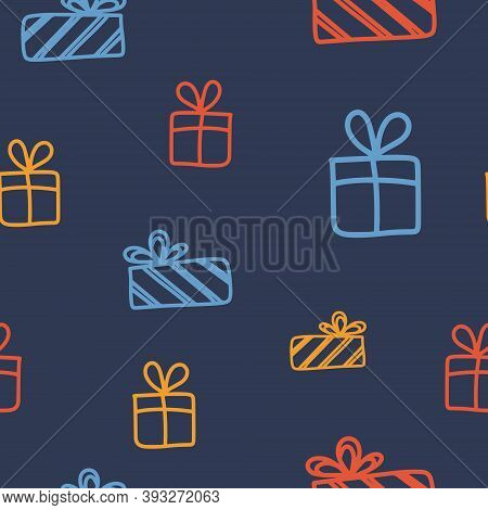 Seamless Pattern On The Theme Of Boxing Day On December 26. Decorated With A Handwritten Inscription