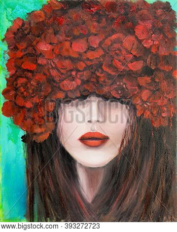 Original Abstract Oil Painting Showing Woman Face And Red  Roses Or Carnation Flowers On Canvas. Mod