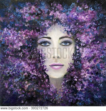Original Abstract Oil Painting Showing Woman Face  And Lavender Or Lilac Flowers On Canvas. Modern I