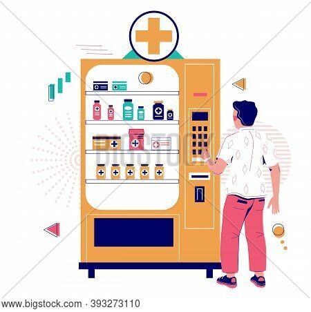 Man Buying Medicinal Drugs From Pharmacy Vending Machine, Flat Vector Illustration. Medicine Vending